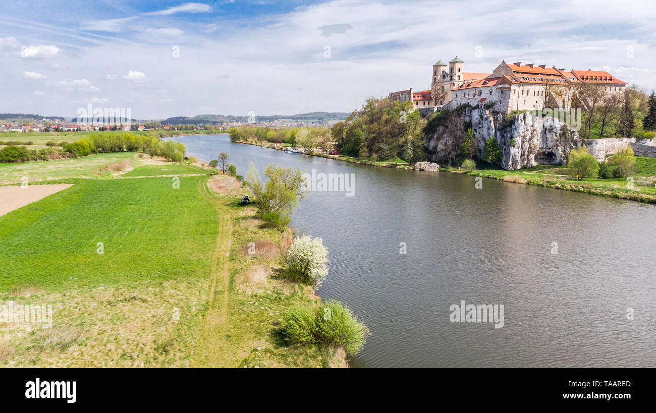 Aerial view of Benedictine abbey, monastery and Saint Peter and Paul church in Tyniec near Krakow, Poland. - Stock Image