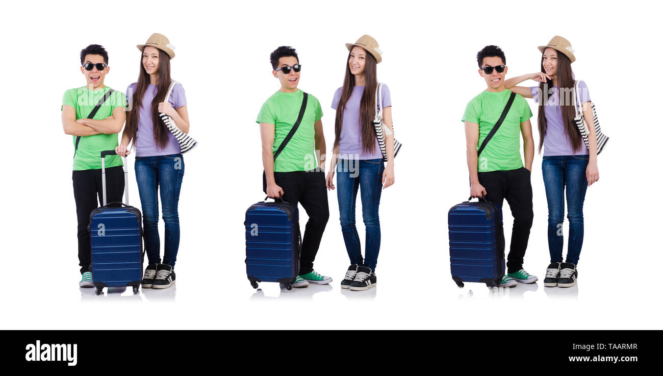 Girl and boy with suitcase isolated on white - Stock Image