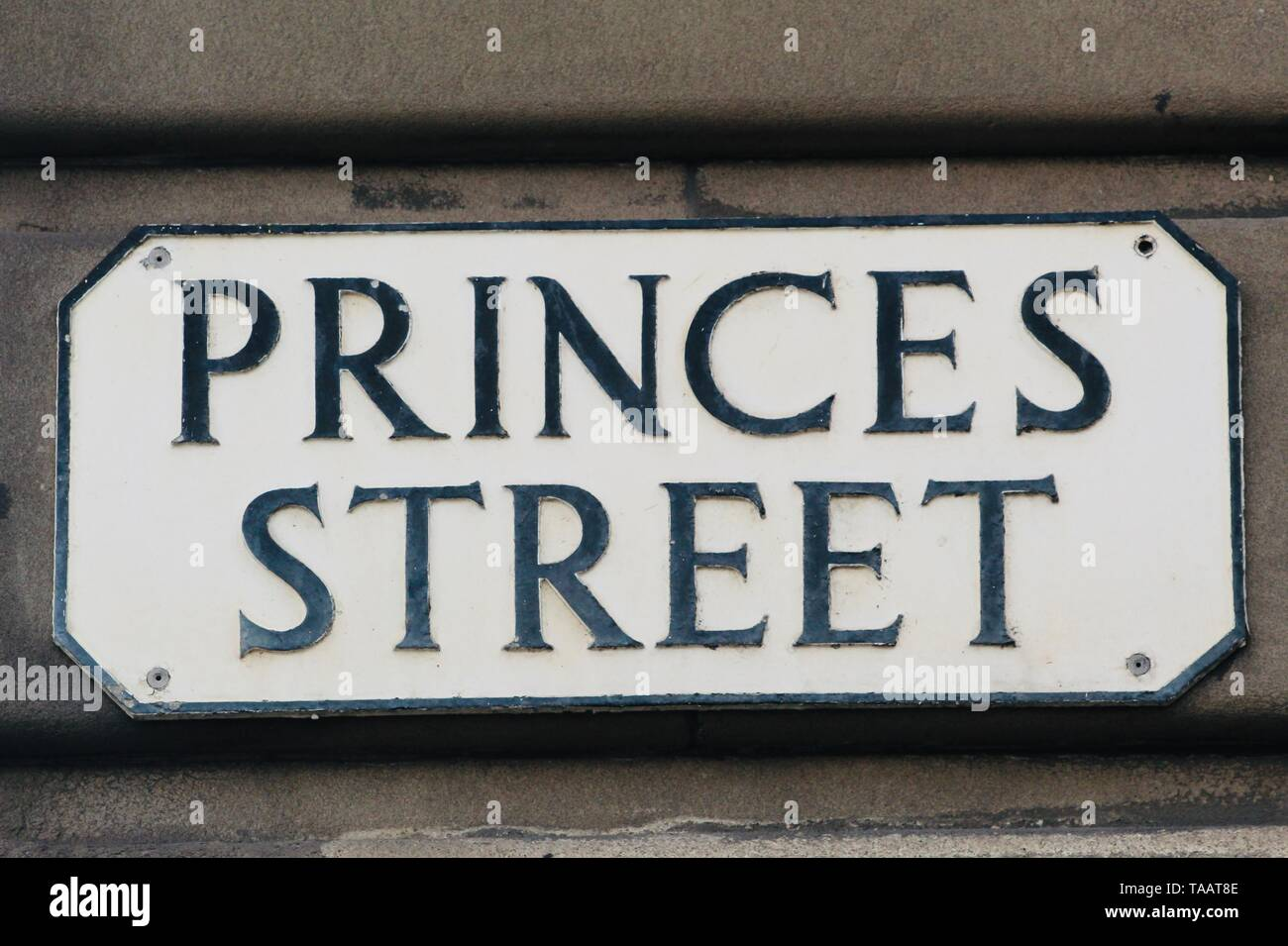 Traditional street name sign for Princes Street in Edinburgh Scotland - Stock Image