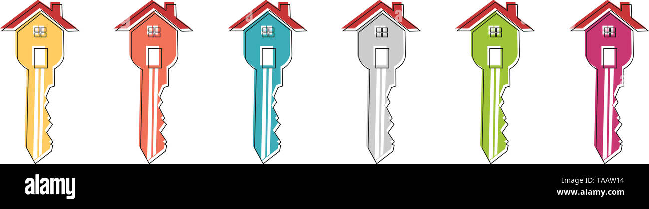 Key-shaped house icon - Stock Image
