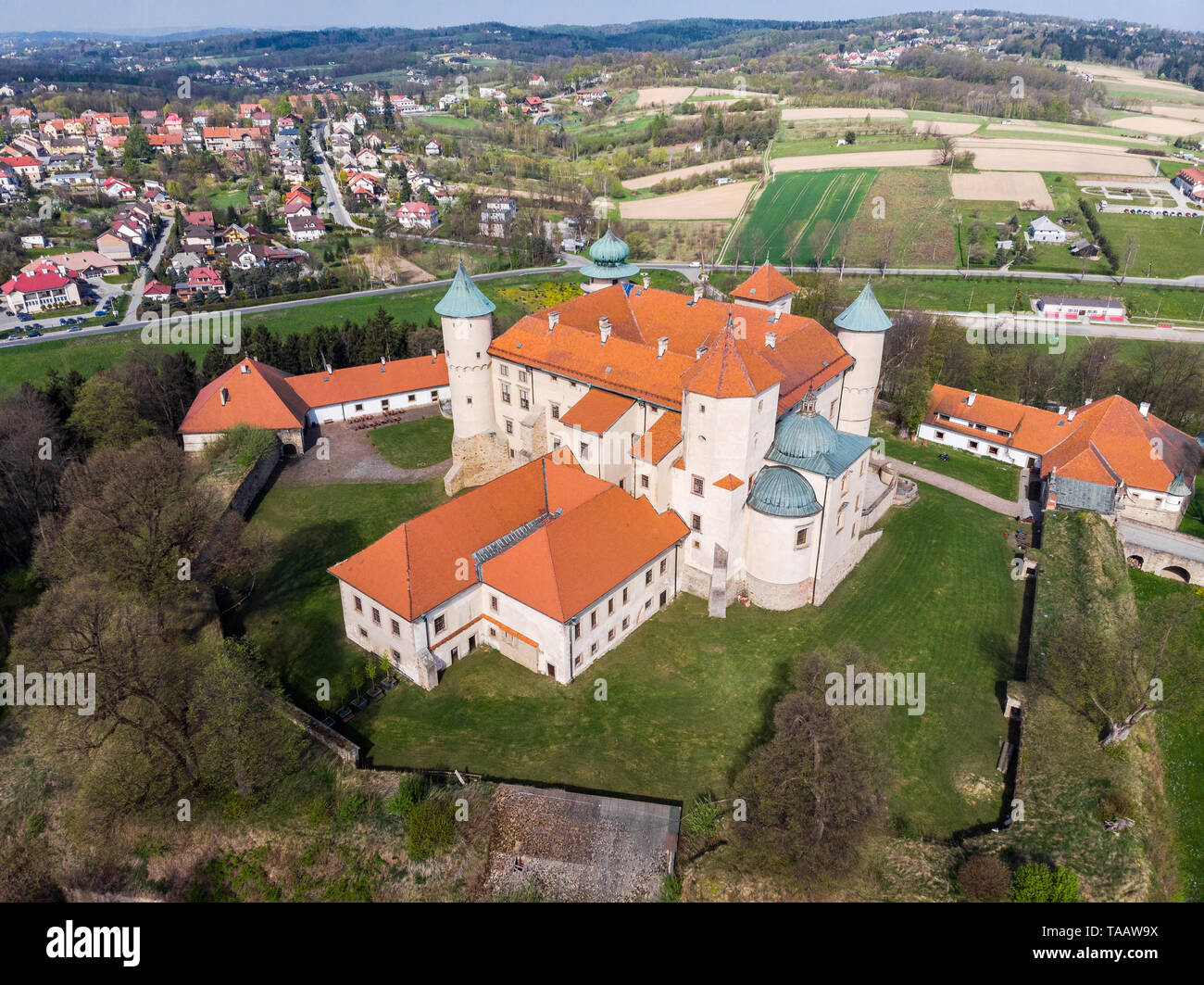 NOWY WISNICZ, POLAND - APRIL 25, 2019: Aerial view of Renaissance and Baroque Castle in Nowy Wisnicz, near Tarnow, in spring scenery,Poland. Stock Photo