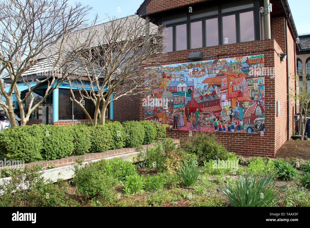 Public art  on the Harbormaster building next to the visitor information booth in downtown Annapolis, MD, USA - Stock Image