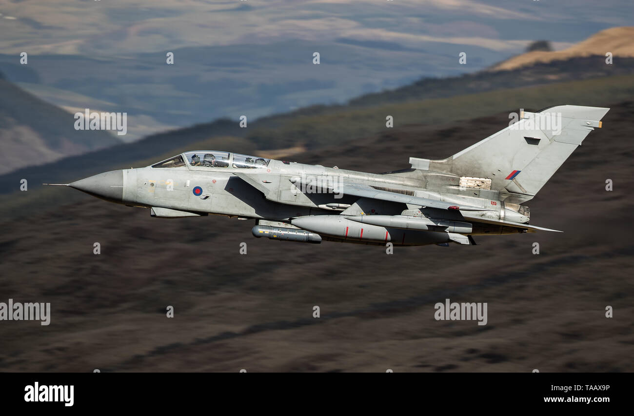 RAF Panavia Tornado GR4 exits the Bwlch Exit in the Mach Loop, Wales, UK Stock Photo