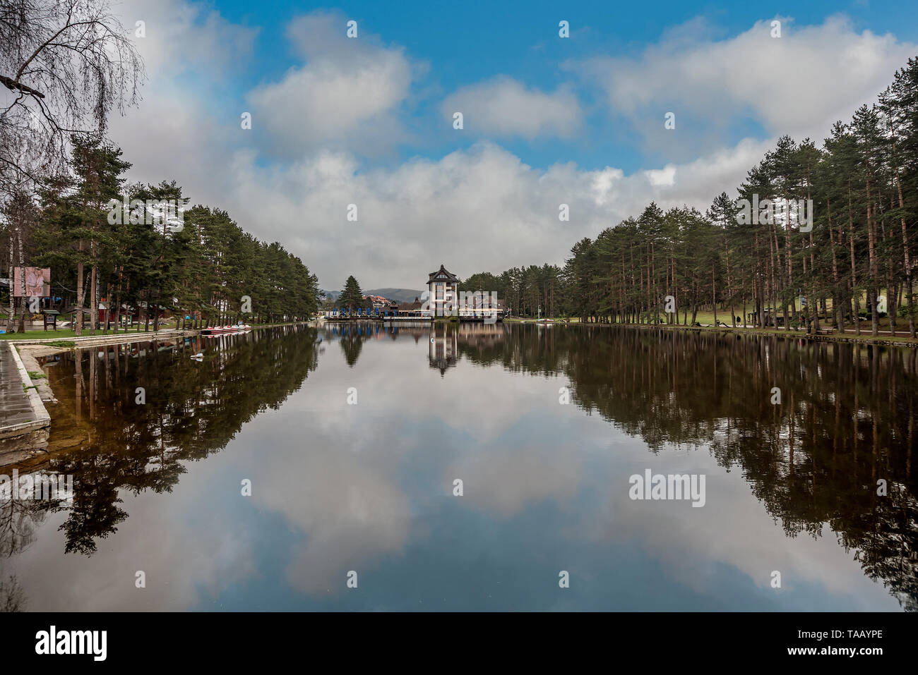 Restaurant on a Beautiful lake in Zlatibor, Serbia - Stock Image