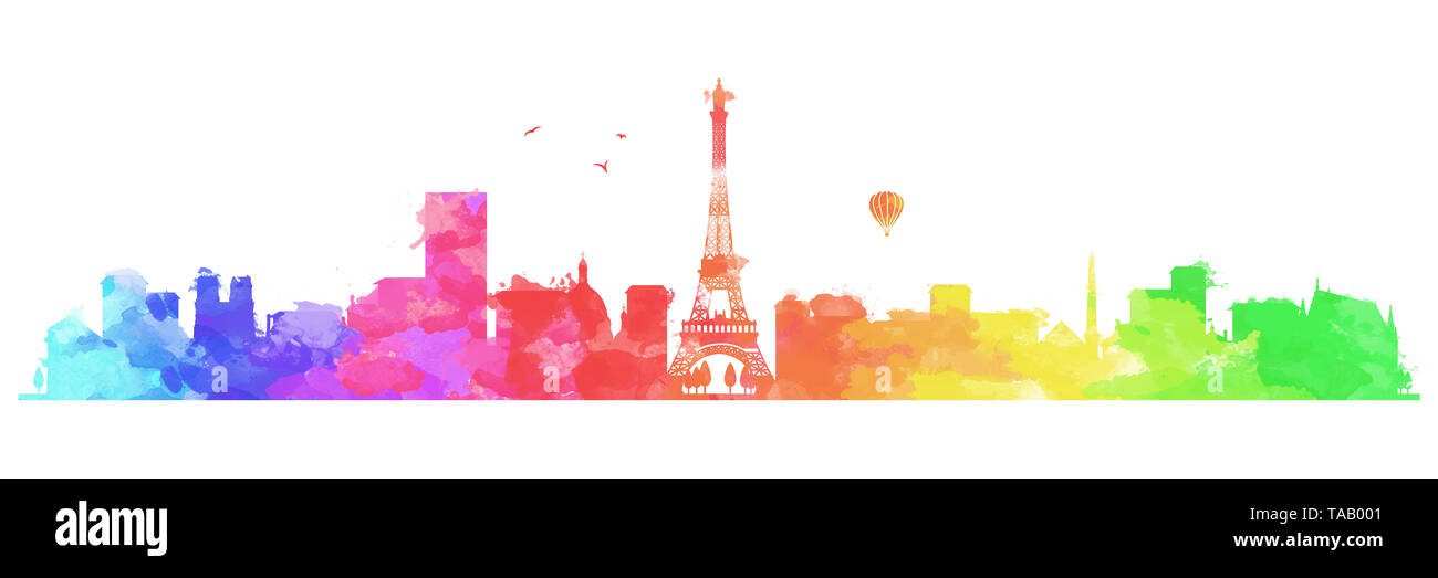 rainbow colorful paris skyline - Stock Image