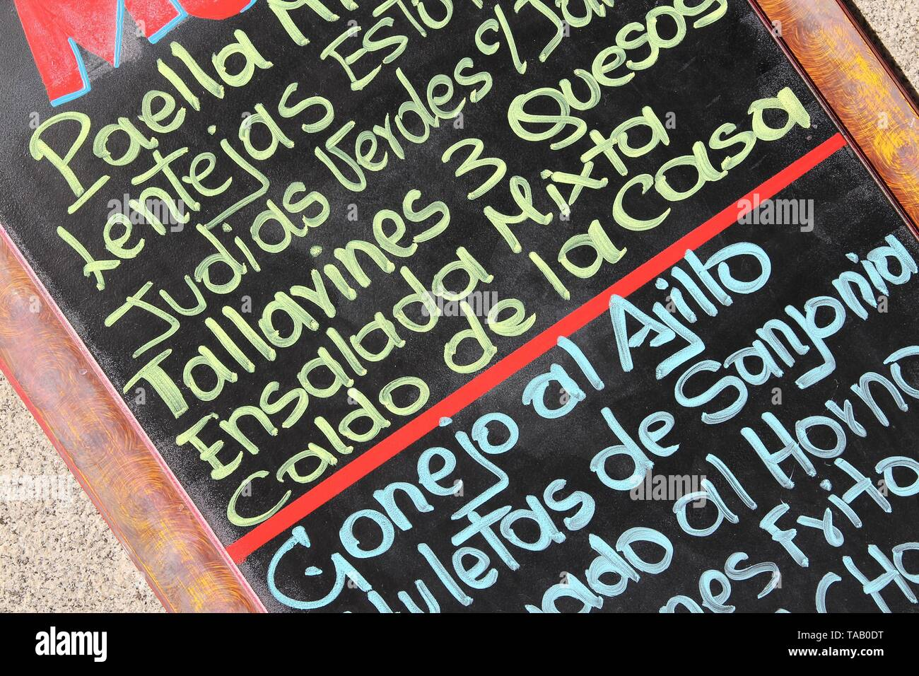 Restaurant Menu With Typical Spanish Cuisine Outdoor Bar In Madrid Spain Generic Dish Names Stock Photo Alamy