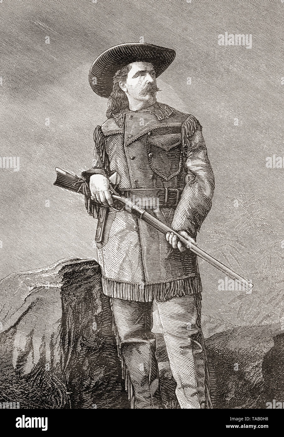 William Frederick 'Buffalo Bill' Cody, 1846 – 1917.  American scout, bison hunter, and showman.  From La Ilustracion Iberica, published 1884. - Stock Image