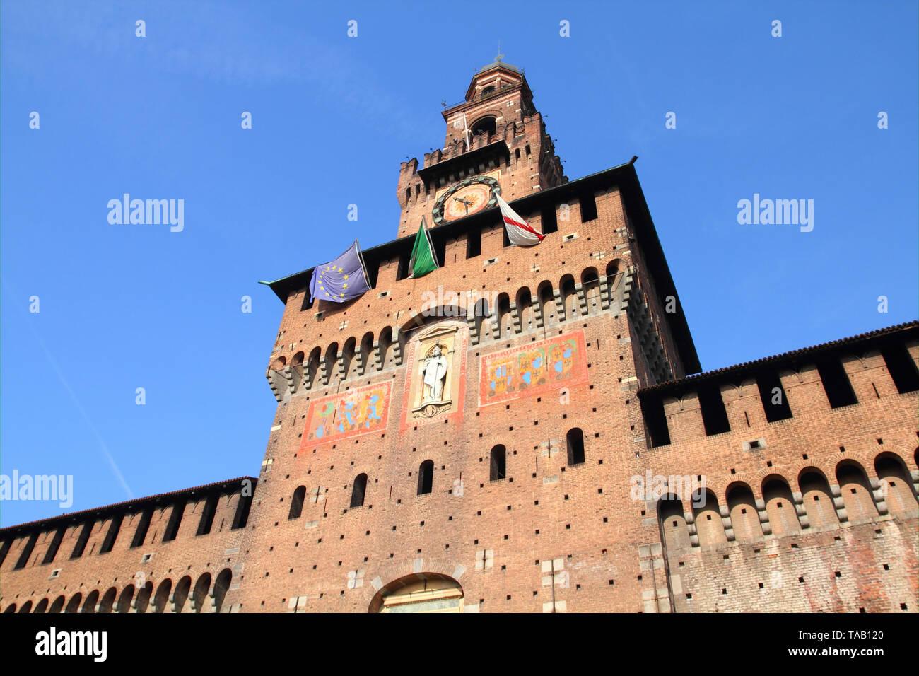 Milan, Italy. Castello Sforzesco (Sforza Castle) - old landmark of Lombardy. - Stock Image
