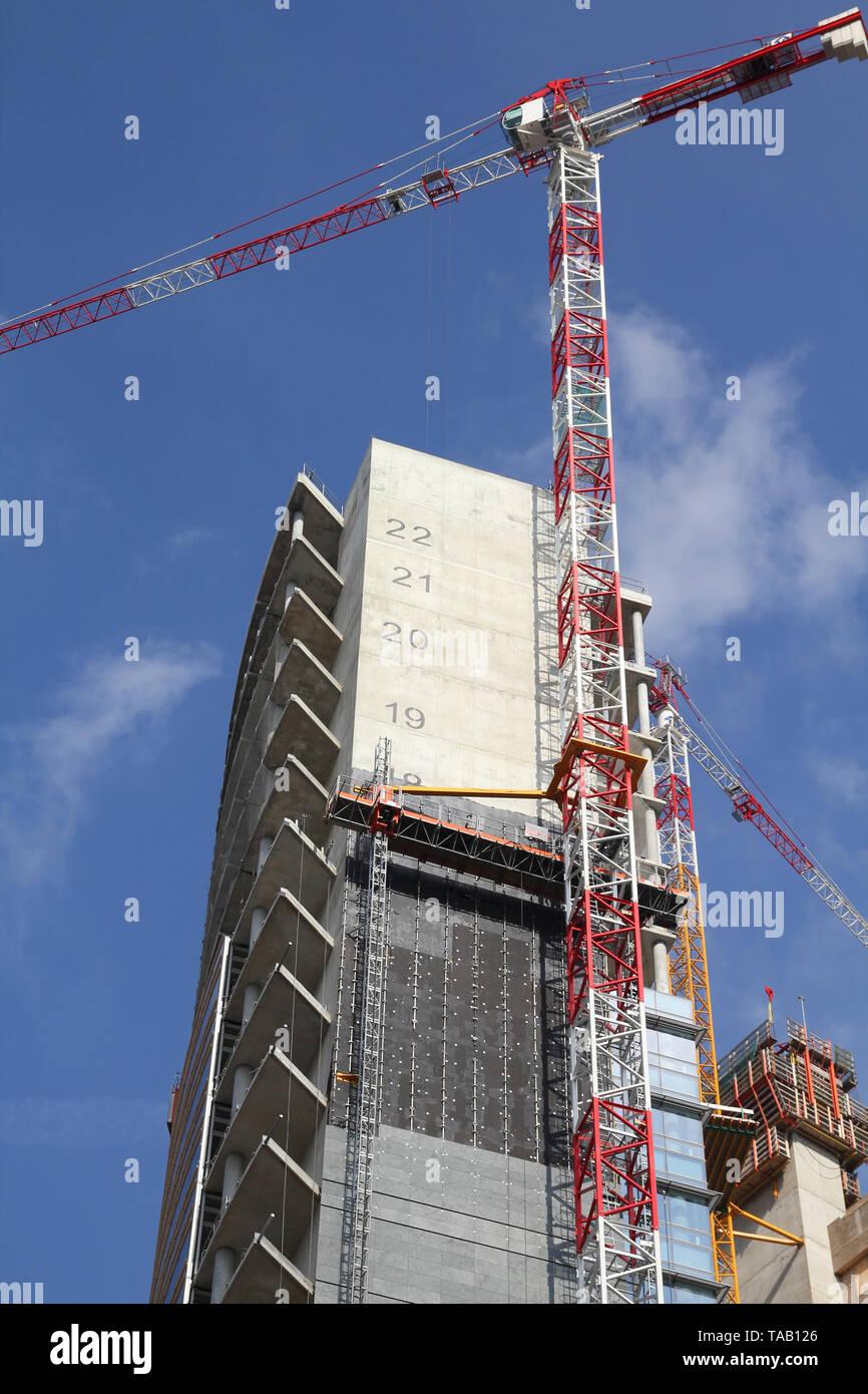 Generic skyscraper construction in Milan, Italy. Office building development. - Stock Image