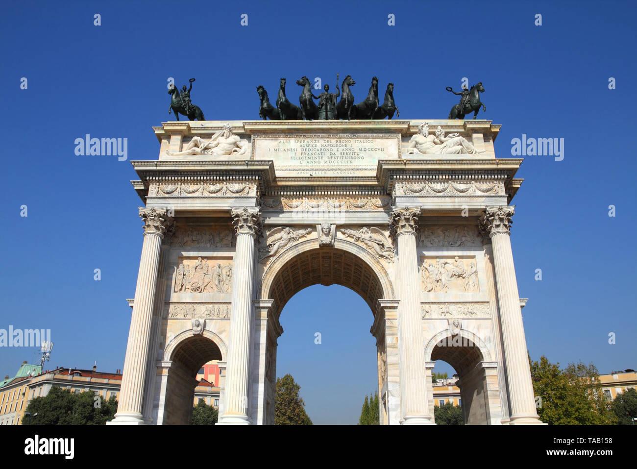 Milan, Italy. Arco della Pace (Arch of Peace) in Sempione Park. - Stock Image