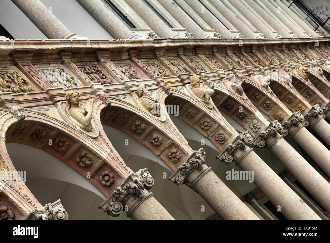 Milan, Italy. Famous courtyard of the University. - Stock Image