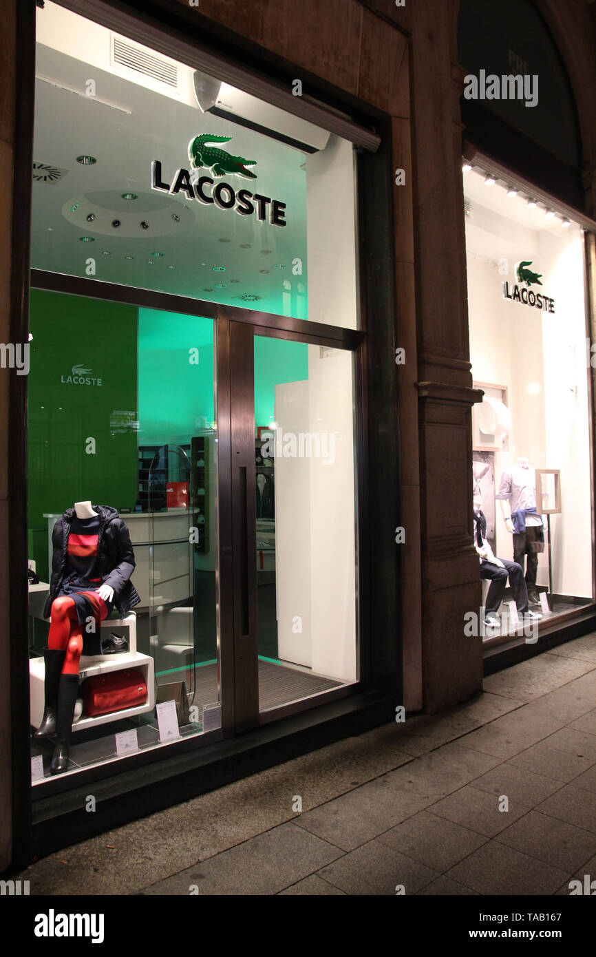 MILAN - OCTOBER 5: Lacoste store on October 5, 2010 in Milan. Lacoste, French high-end apparel chain company was founded in 1933. In 2005, almost 50 m - Stock Image