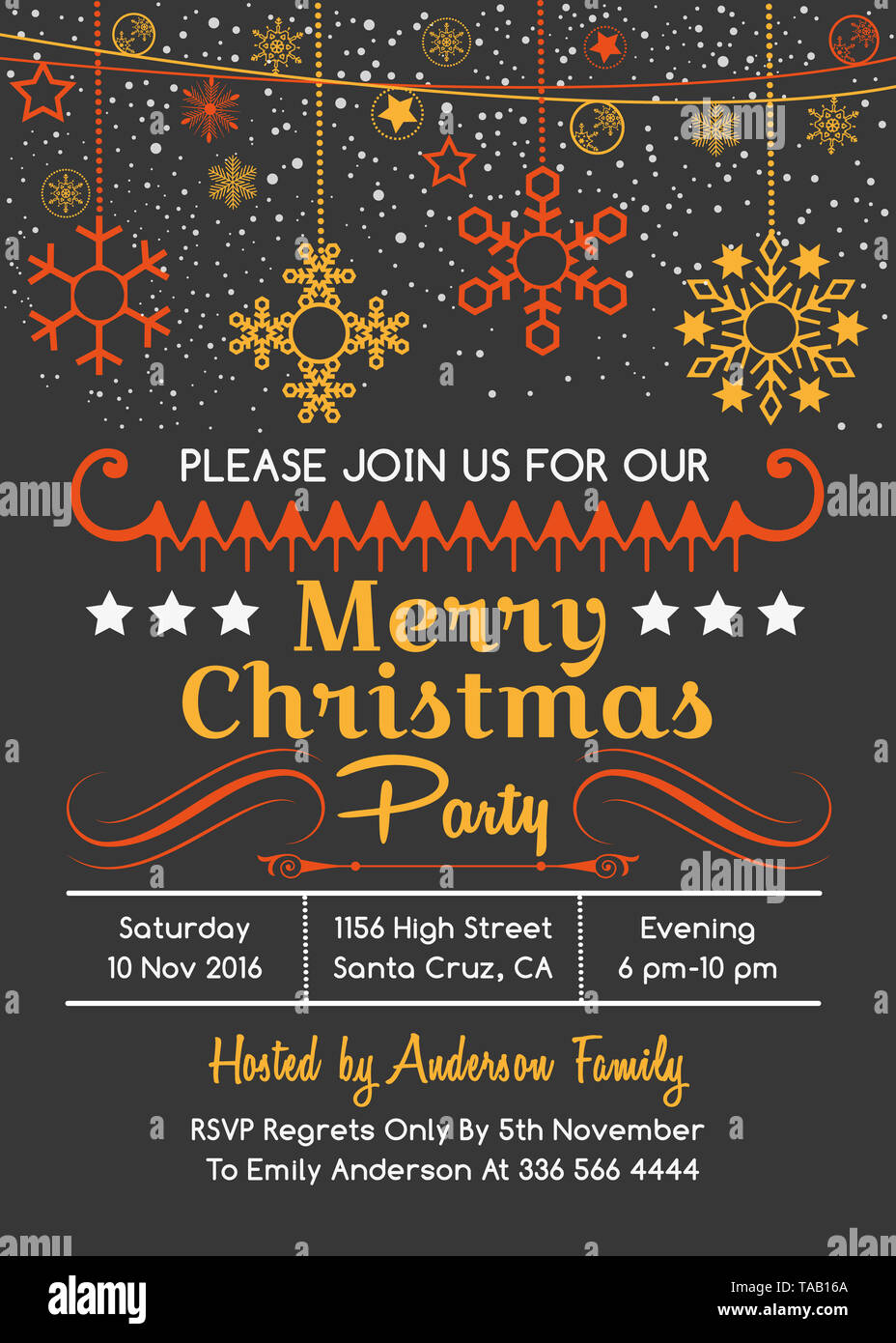 Vector Merry Christmas Greeting Card Xmas Party Invitation