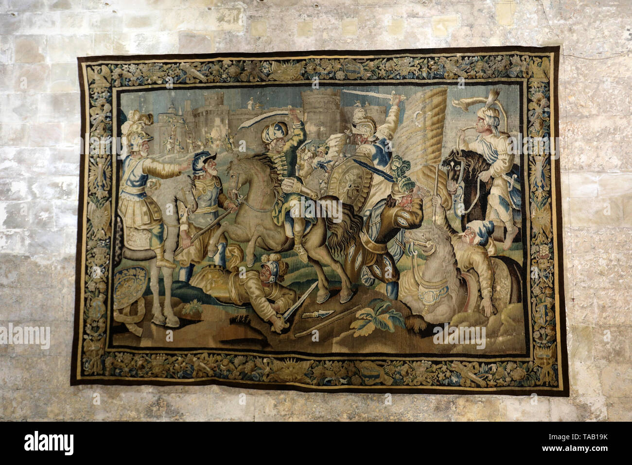 Arles, France - June 27, 2017: gallery of 17C Aubusson tapestries displayed in Saint-Trophime Cathedral show life of Godefroy de Bouillon in Jerusalem - Stock Image