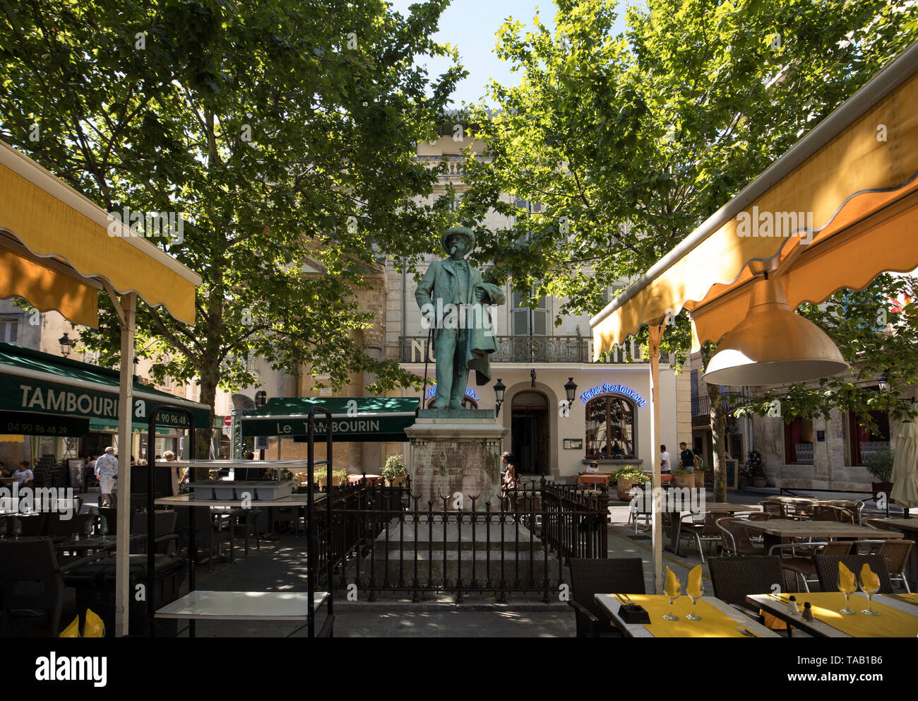 Arles, France - June 24, 2017: Statue of Frederic Mistral on Forum Square, Arles, Bouches-du-Rhone, France - Stock Image