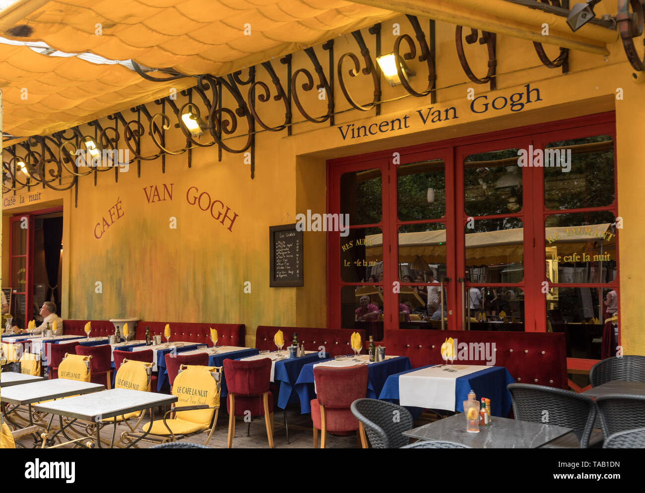 Arles, France - June 24, 2017: Cafe Van Gogh at Place du Forum in Arles. Provence, France. This is the same Cafe Terrace that Vincent van Gogh painted Stock Photo