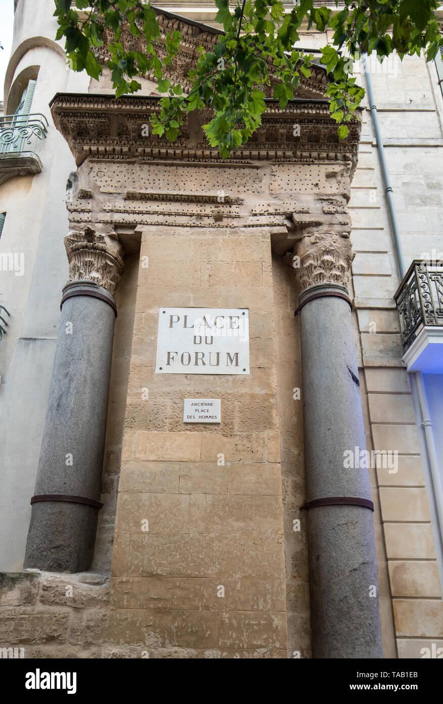 Arles, France - June 24, 2017:  Place du Forum in Arles, Provence, France Stock Photo