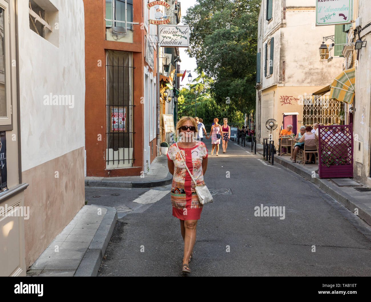 Arles, France - June 24, 2017: Cafe and restautants in the old town of Arles in Provence in the South of France. - Stock Image