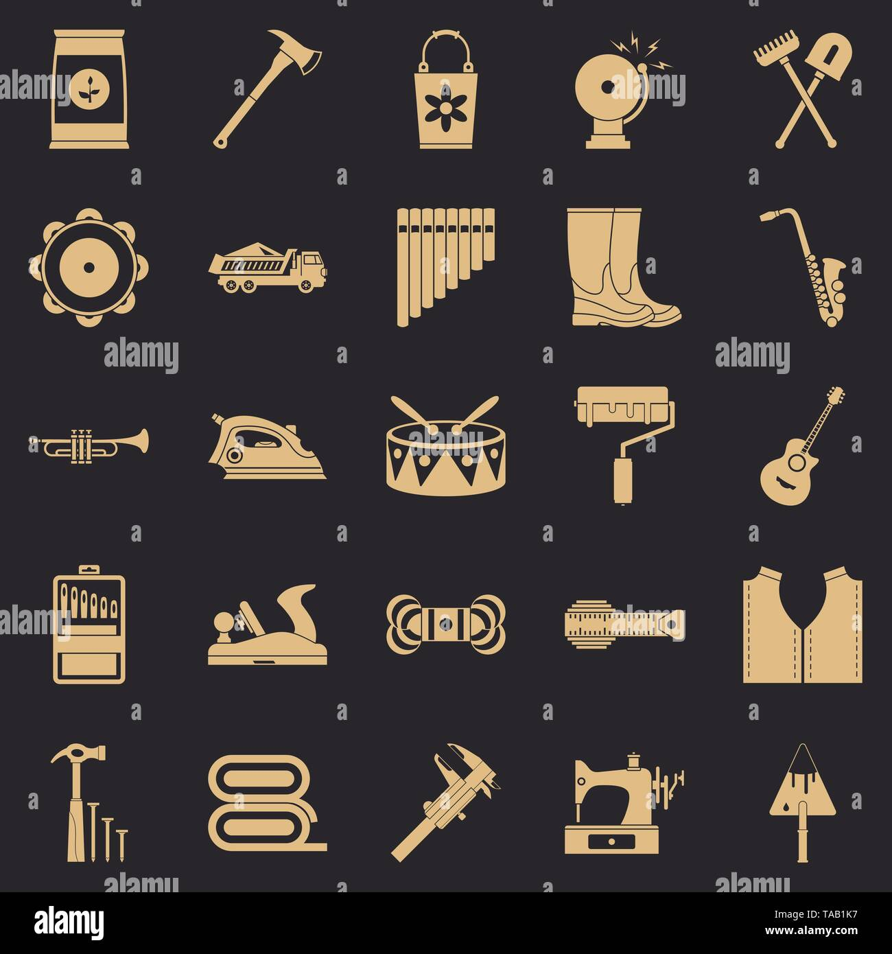 Working gear icons set, simple style - Stock Image