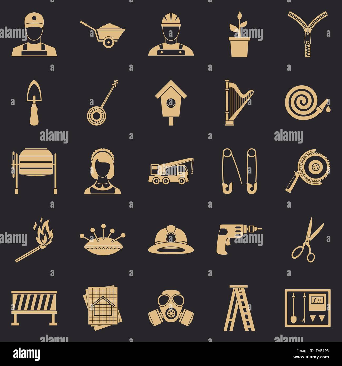 Engineering machine icons set, simple style - Stock Image