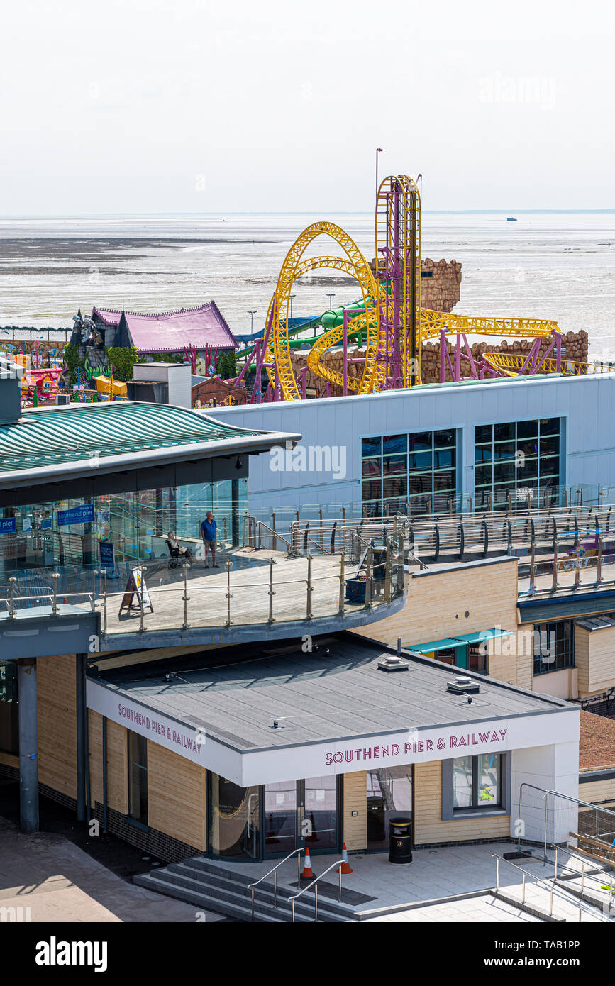 New entrance structure building to Southend pier and pier railway, Southend on Sea, Essex, UK. Modern construction - Stock Image