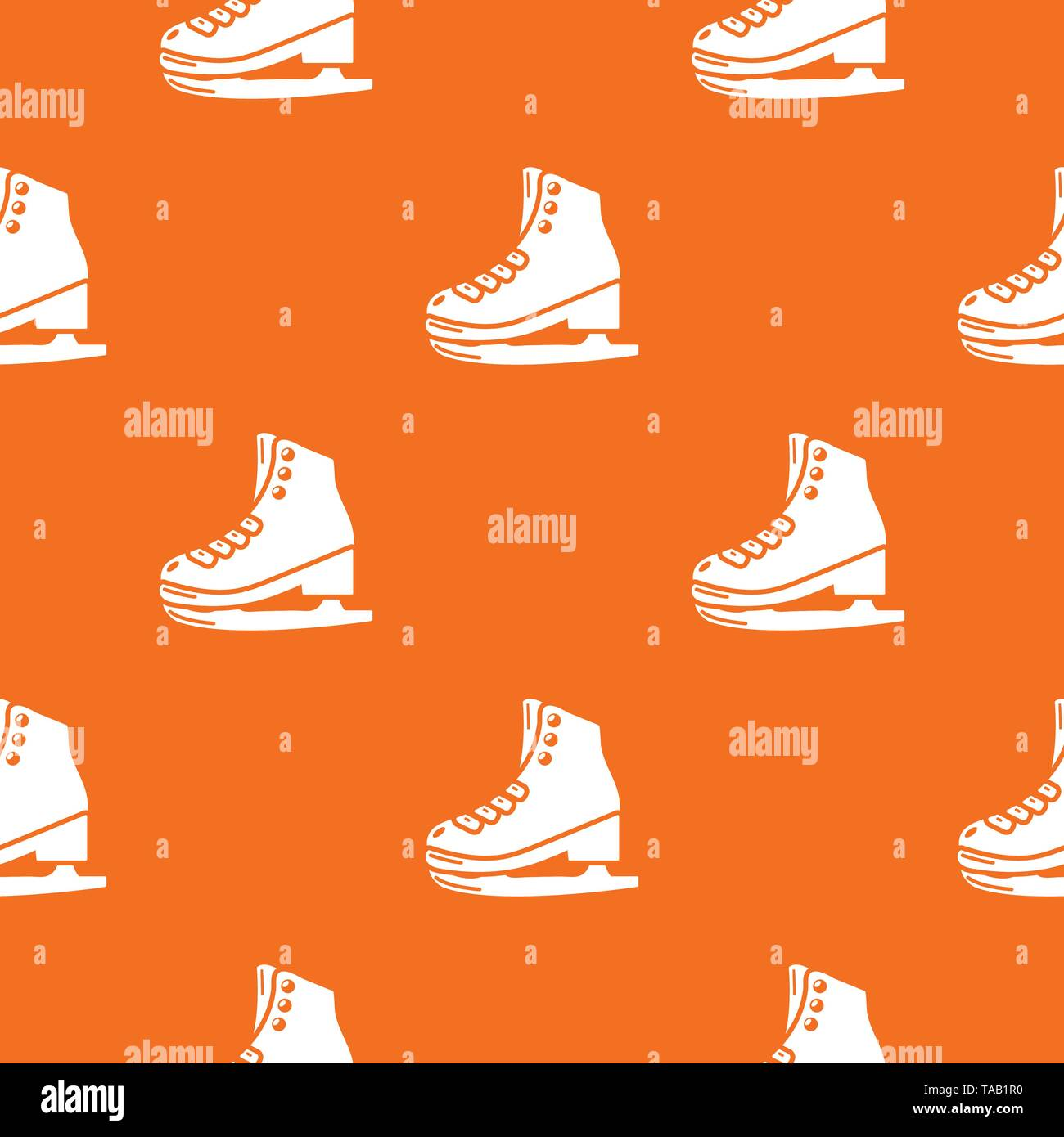 Skates pattern vector orange - Stock Image