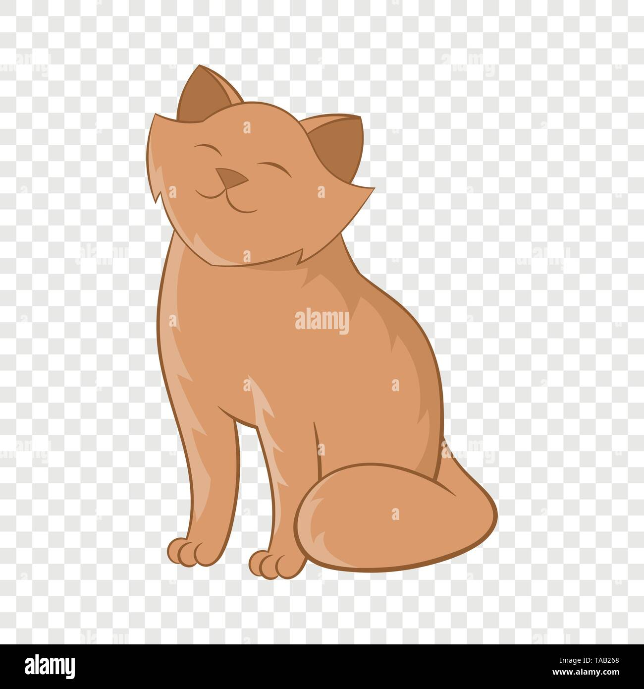 Cute cat sitting icon, cartoon style - Stock Image
