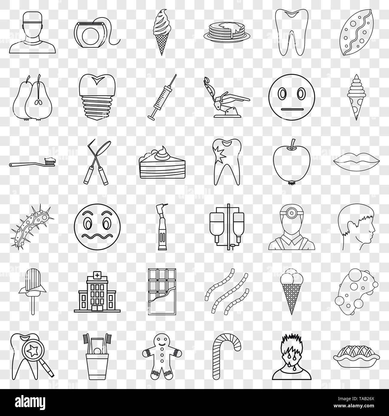 Dentist icons set, outline style - Stock Image