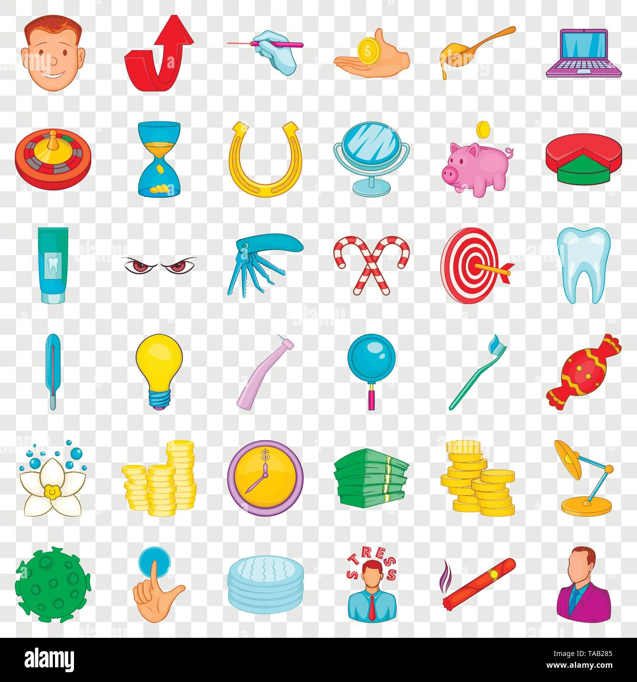 Toothpaste icons set, cartoon style - Stock Image