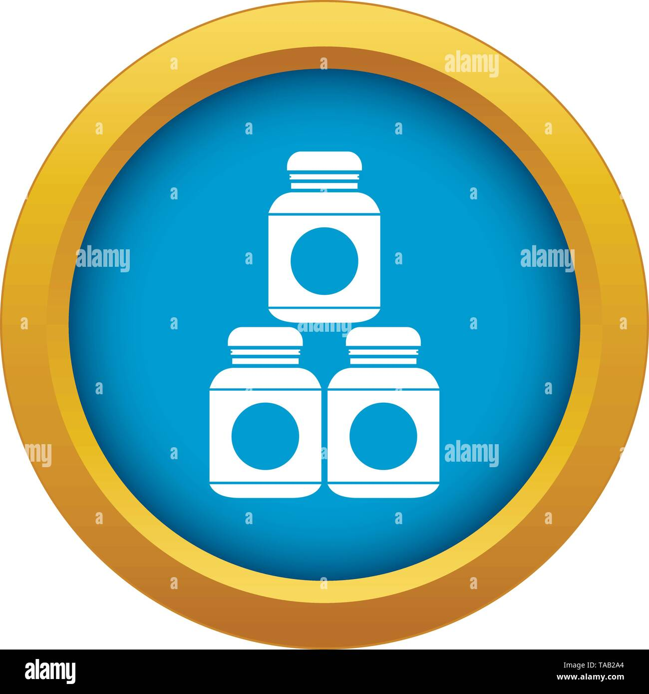 Sport nutrition containers icon blue vector isolated - Stock Image
