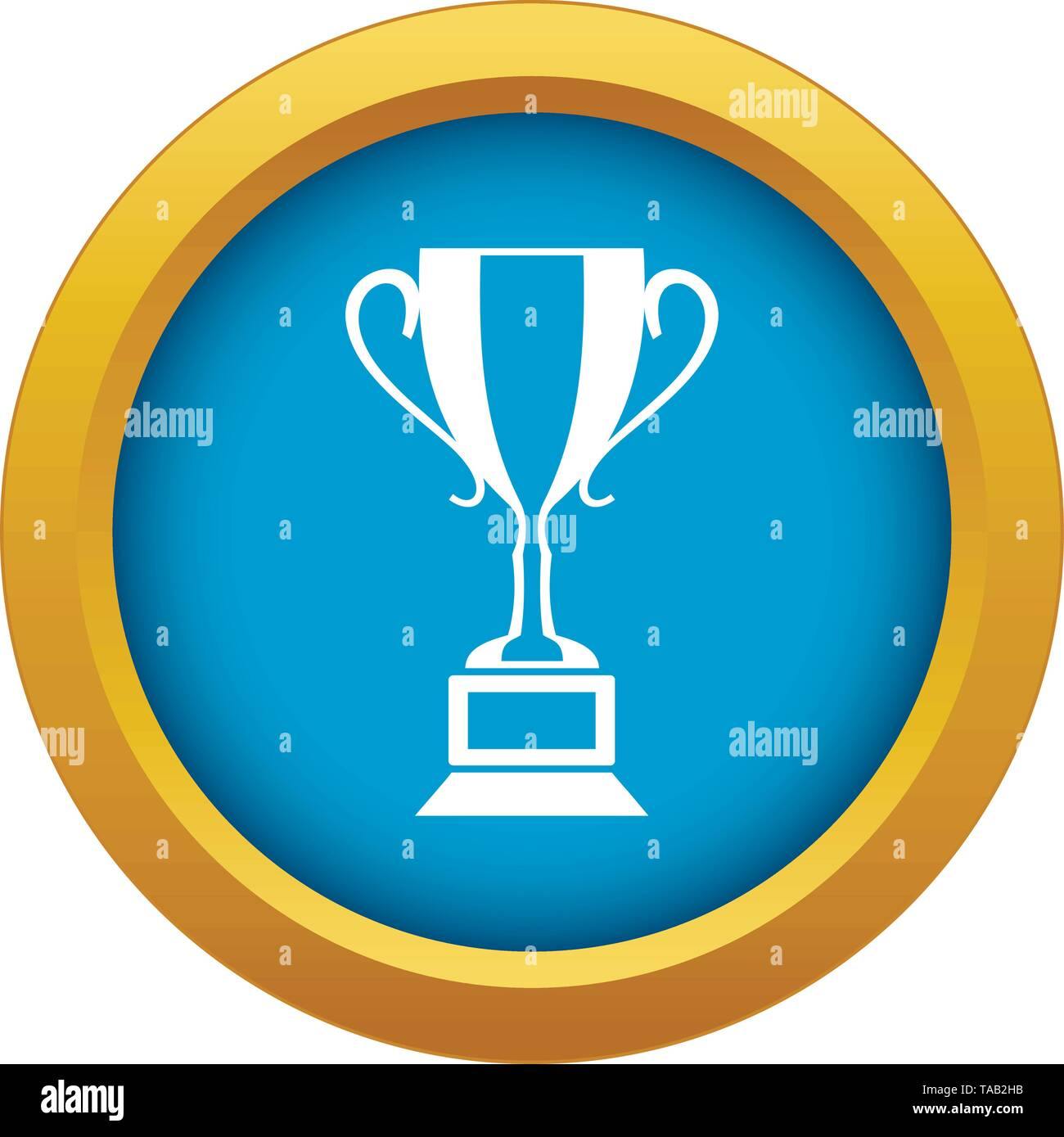 Trophy cup icon blue vector isolated - Stock Image