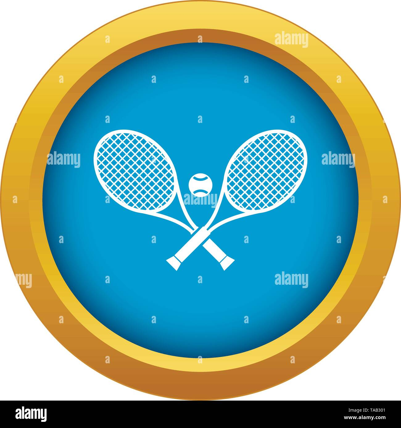 Crossed tennis rackets and ball icon blue vector isolated - Stock Image