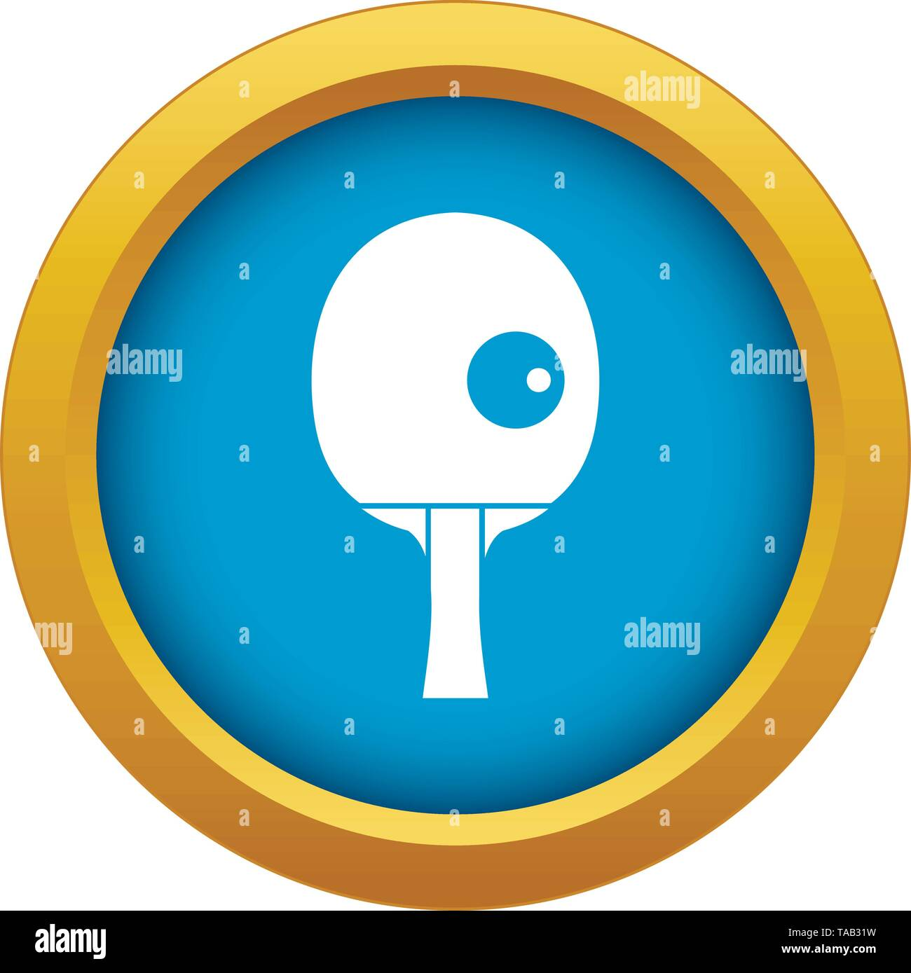 Rackets and ball for playing table tennis icon blue vector isolated - Stock Vector