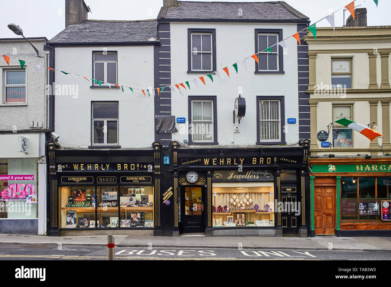 Wherly Bros jewellers shop in the centre of Sligo, Ireland - Stock Image