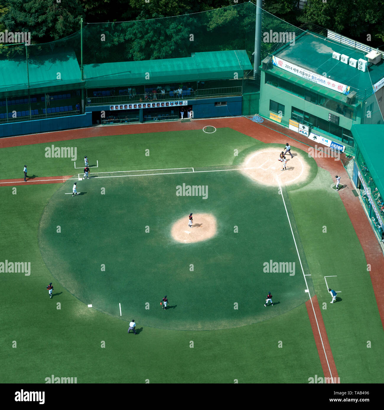 High angle view of baseball stadium seen from Shilla Hotel, Seoul, South Korea Stock Photo