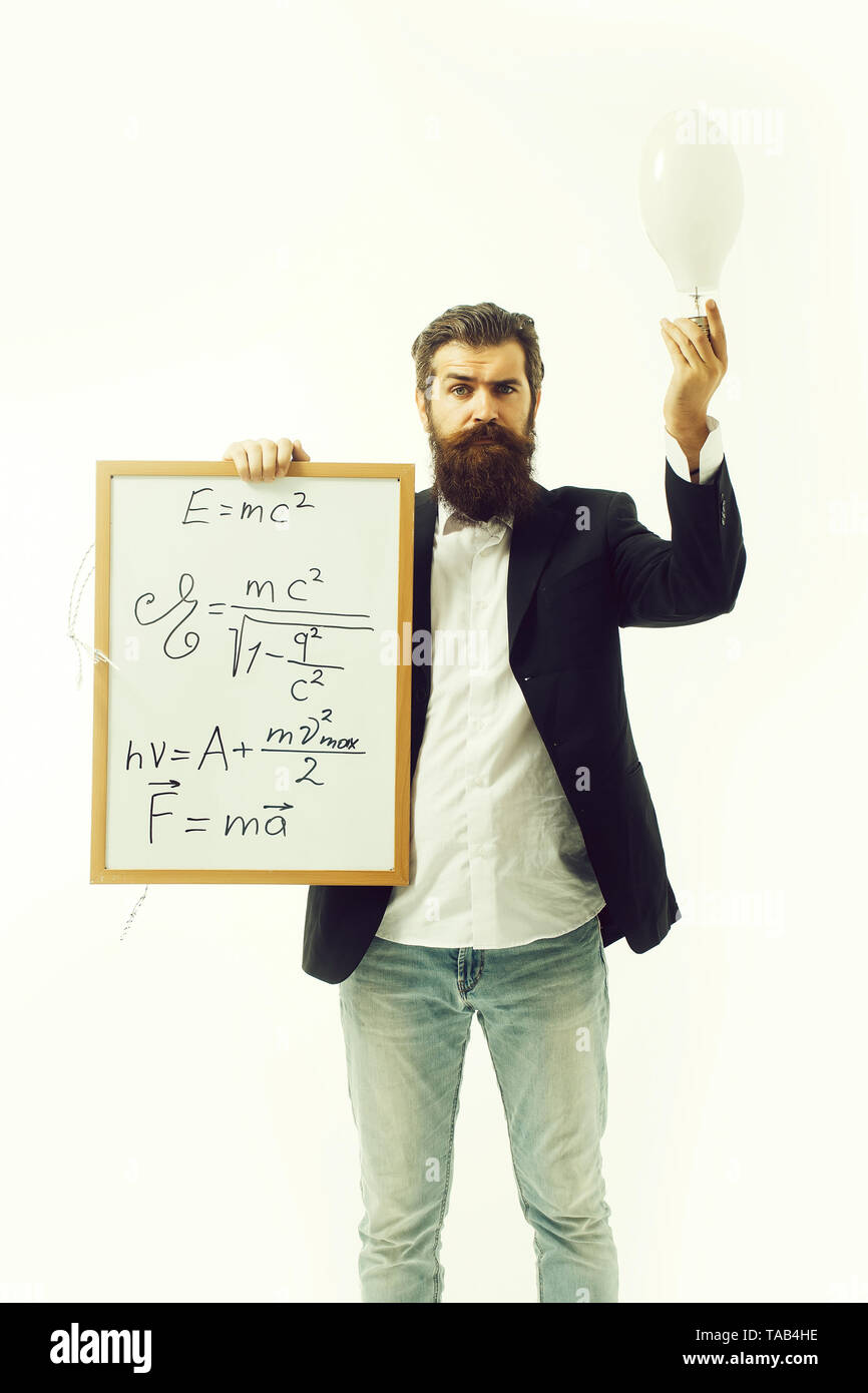 bearded man with einstein formula and newtons law - Stock Image