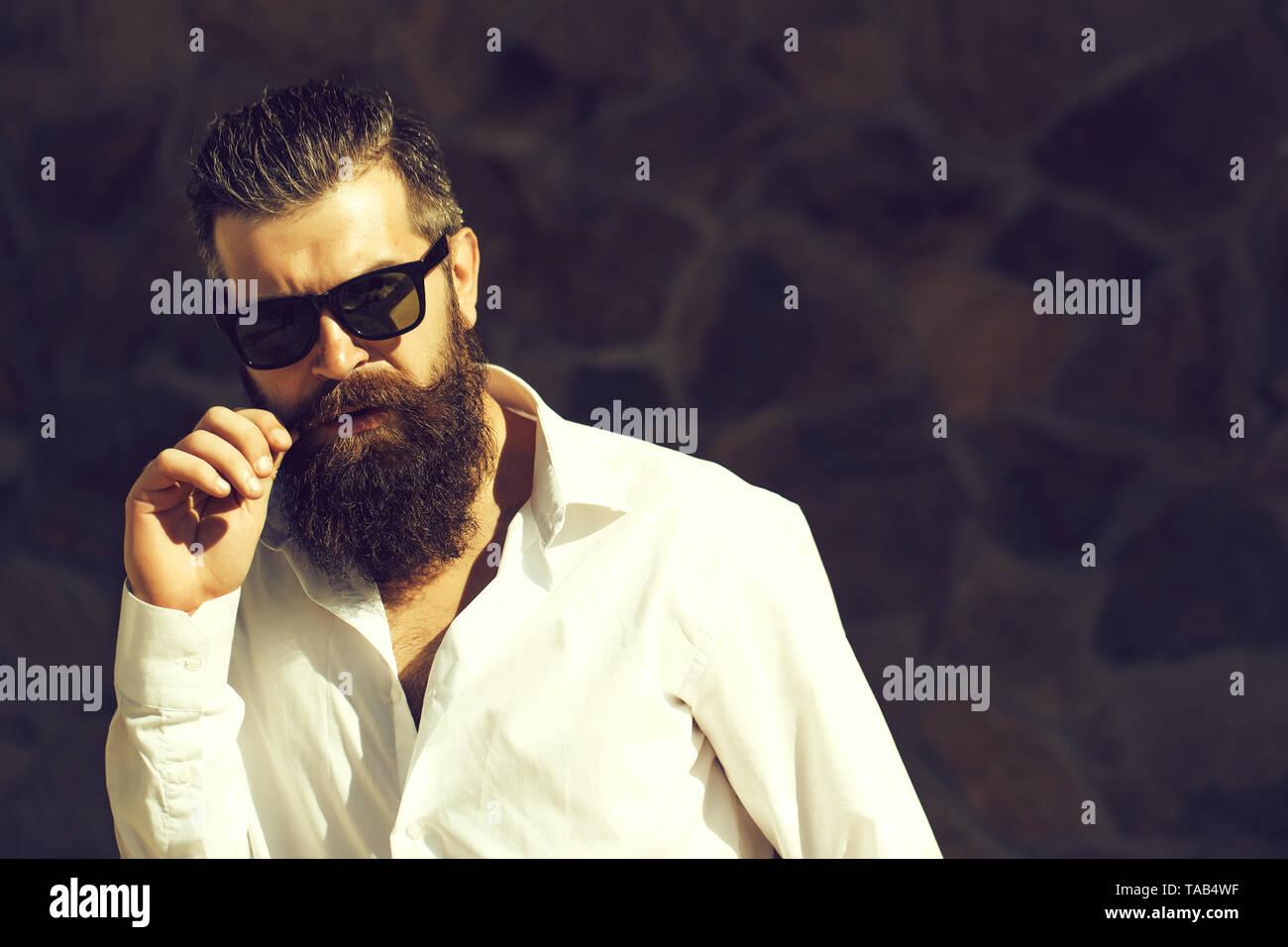 Bearded man in glasses - Stock Image