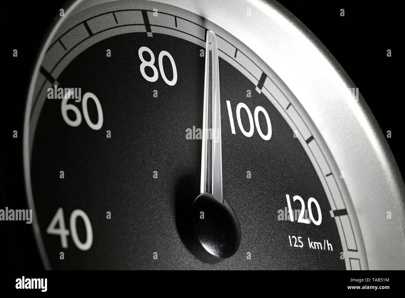 speedometer of a truck at cruising speed of 90 km/h - Stock Image