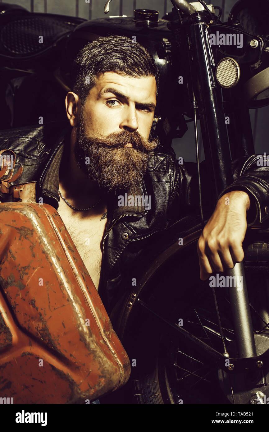 Bearded man hipster biker Stock Photo