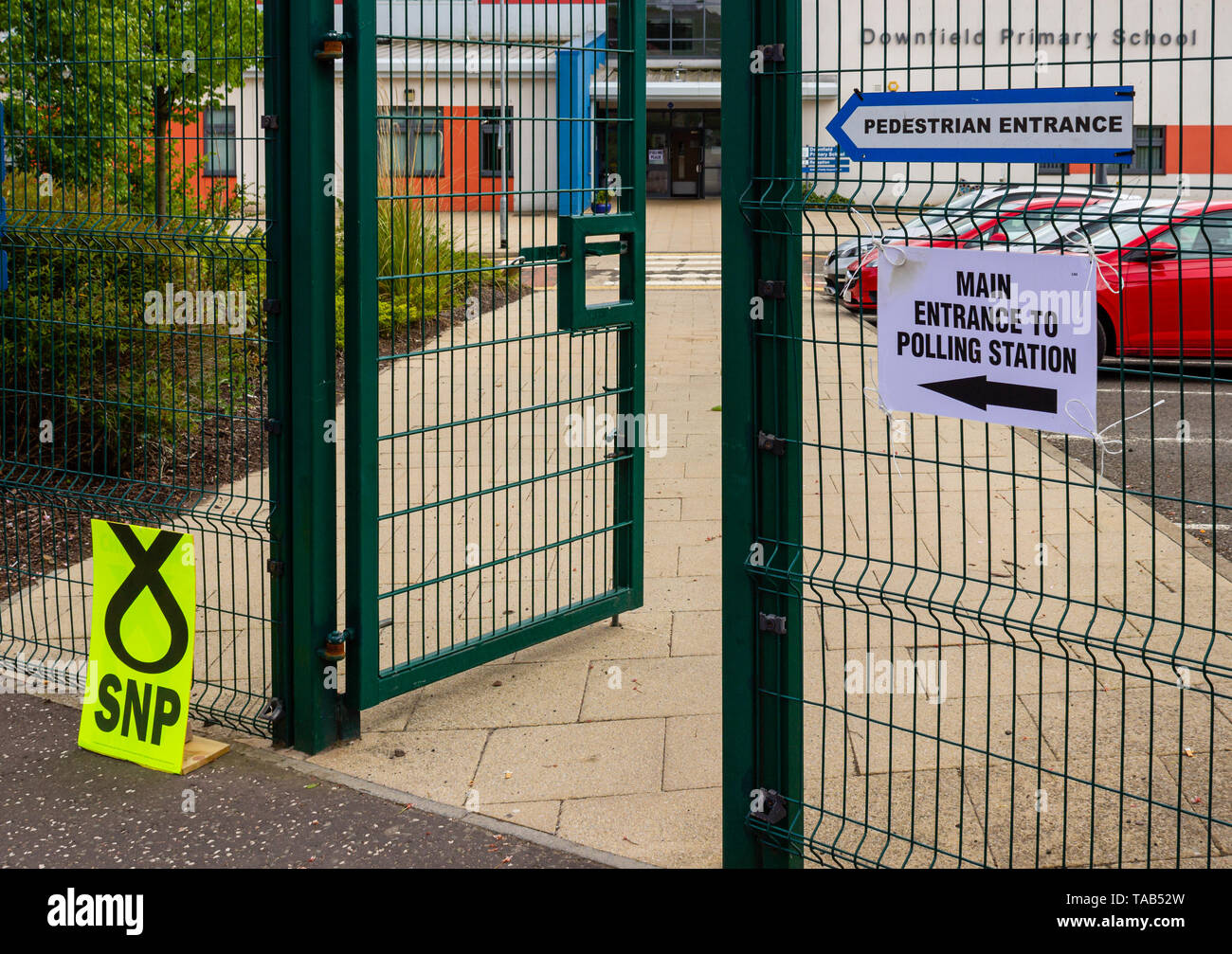 Signs outside a polling station during the EU parliament election in Scotland in May 2019 - Stock Image