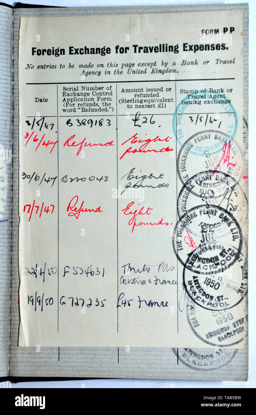 Foreign exchange page showing transactions from the late 1940's at the back of an old style vintage blue British passport - Stock Image