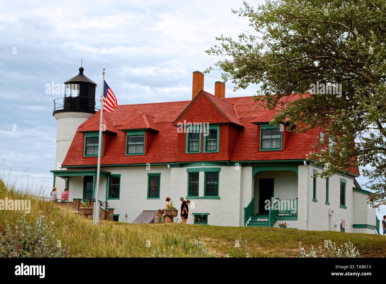 Point Betsie Lighthouse; 1858; aid to navigation; beacon, National Register of Historic Places; Lake Michigan; Frankfort; MI; summer; horizontal Stock Photo