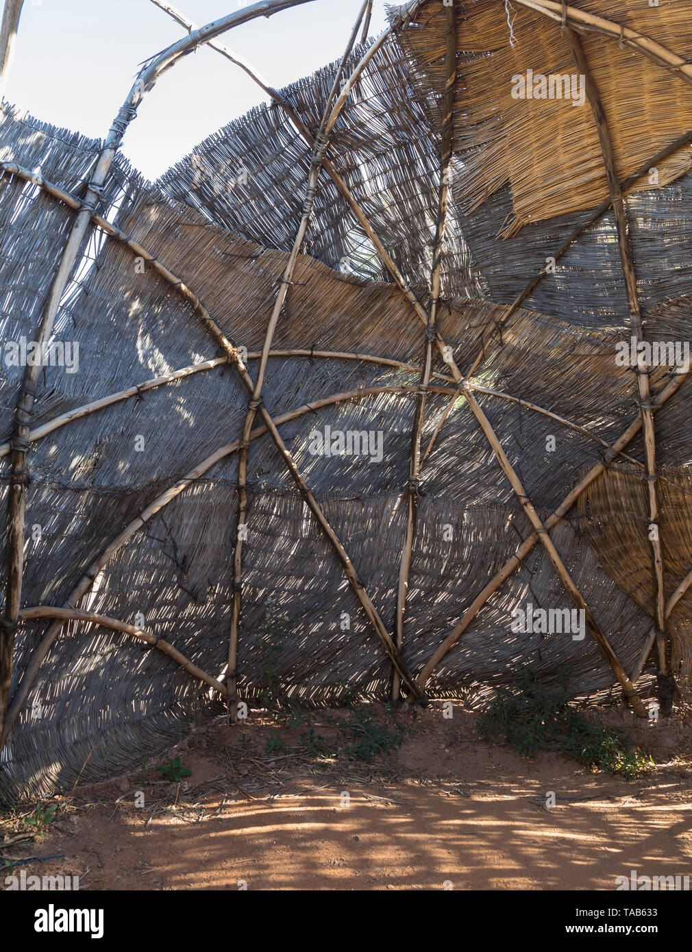 Interior construction of a Nama Kookskerm, a Khoisan reed hut for cooking and socialising - Stock Image