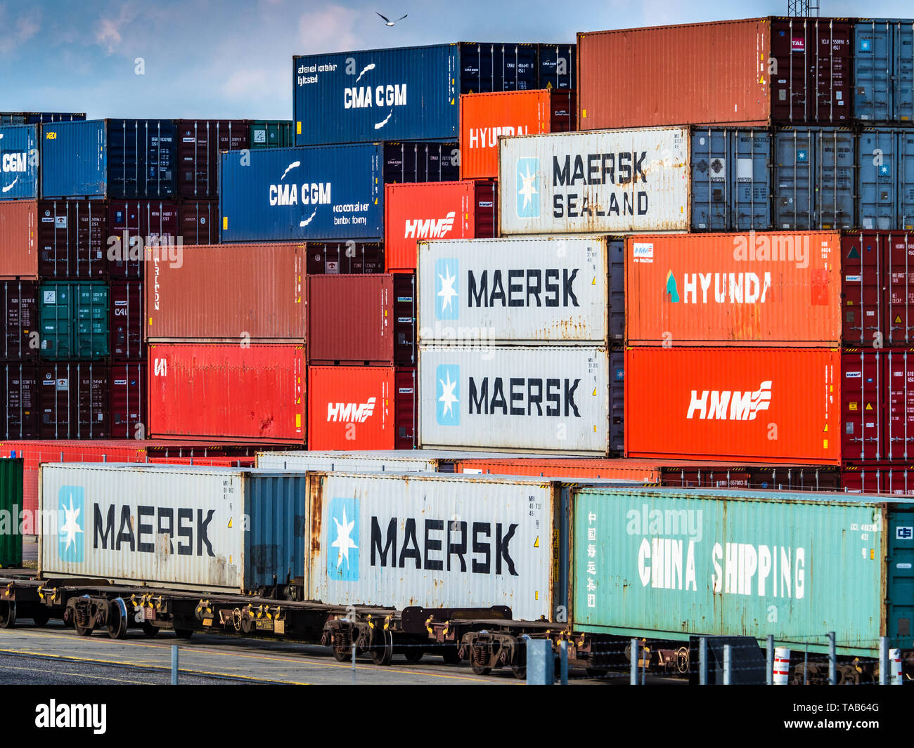 Rail Freight Terminal UK - Intermodal Shipping containers being loaded onto freight trains for onward transport at Felixstowe Port railhead. Stock Photo