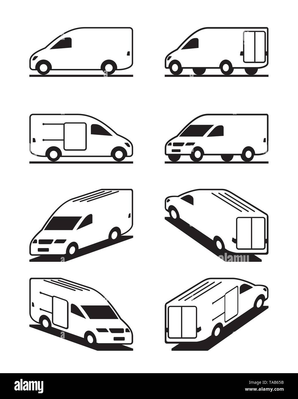 Van in different perspective - vector illustration - Stock Image