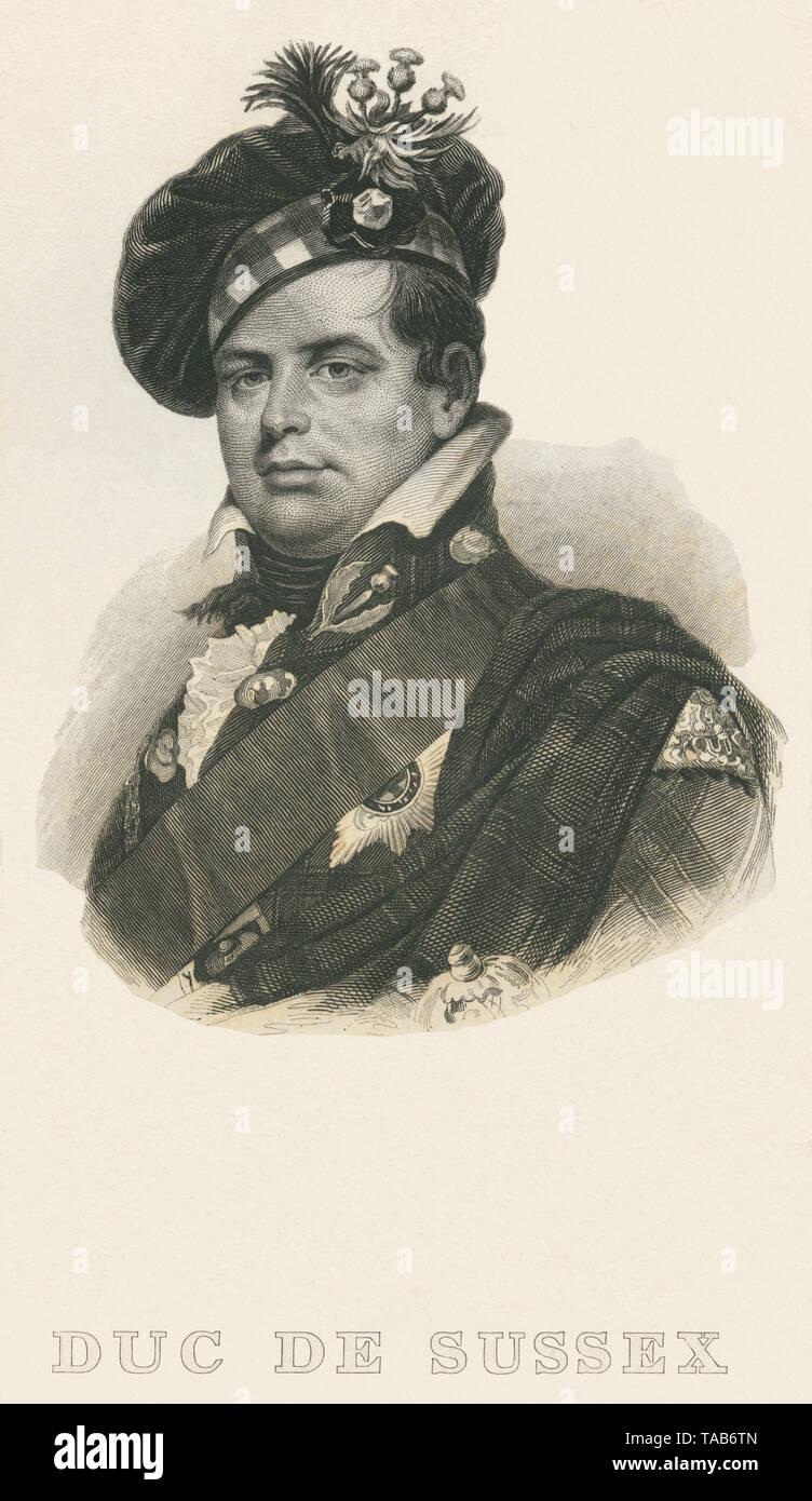 Europa, Großbritannien, London, August Friedrich 1. Duke of Sussex , Stahlstich, nach einem Gemälde von W. Beechey ? , 1830er Jahre ? .  /  Europe, Gr Stock Photo