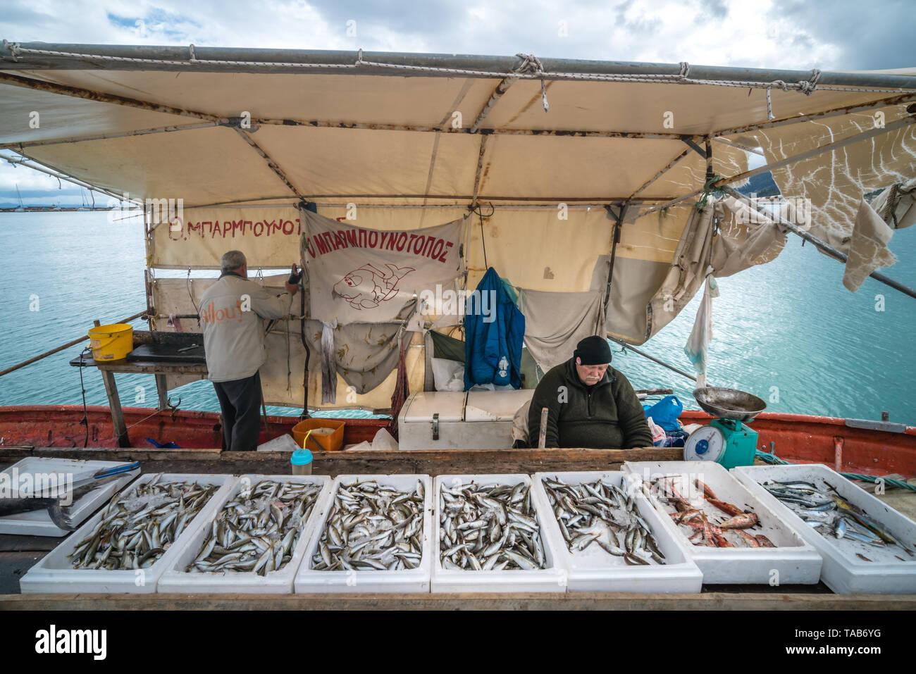 Zakynthos, Greece -  April 2019 : Boxes of freshly caught fish on a fishermen boat in Zakynthos Port Zakynthos City, Ionian islands - Stock Image