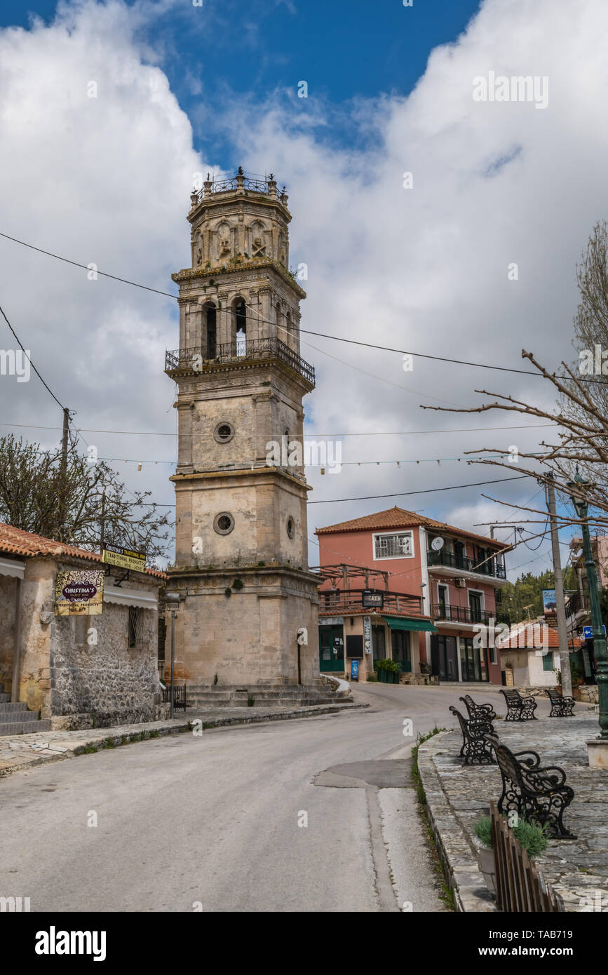 Zakynthos, Greece -  April 2019 : Bell tower of a small church in Agios Leon village - Stock Image