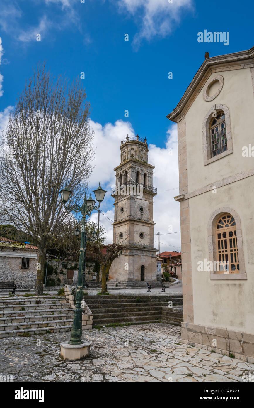 Zakynthos, Greece -  April 2019 : Bell tower of a small church in Agios Leon village, Zante - Stock Image