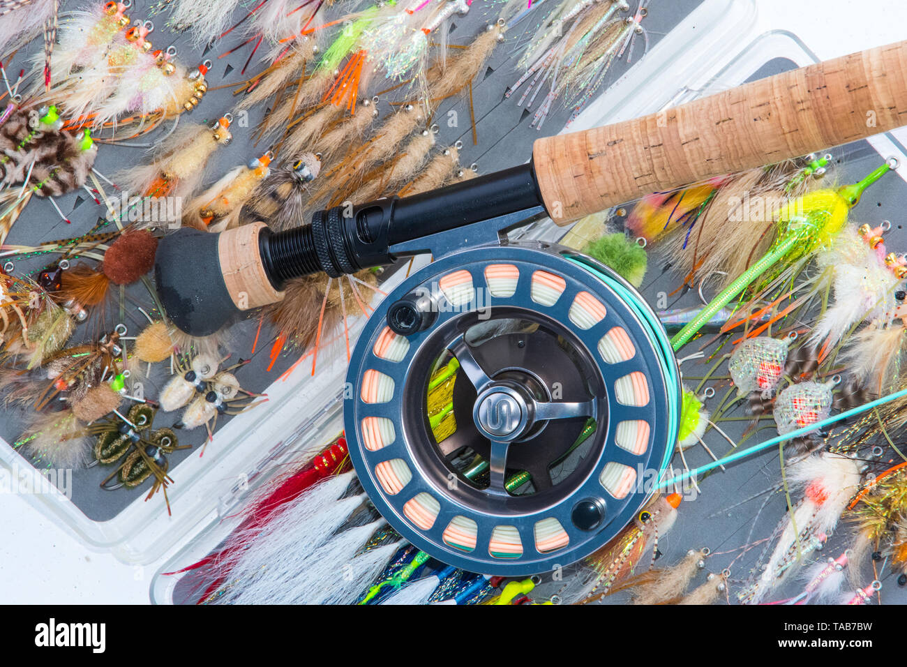 Saltwater fly fishing flies and fly rod and reel Stock Photo